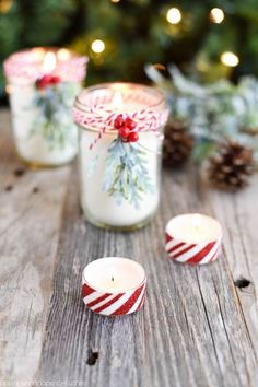 DIY Peppermint Candles - you won't believe how easy it is to make your own mason jar candles! These make a great Christmas gift idea!