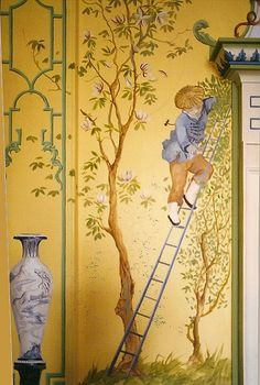 A charming chinoiserie wall mural by Michael Dillon. Et Wallpaper, Chinoiserie Wallpaper, Chinoiserie Chic, Wall Murals, Wall Art, Asian Decor, Beautiful Wall, Mellow Yellow, Chinese Art