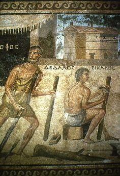 Dédale et Icare, détail de la mosaïque de Pasiphaé (Zeuma , Turquie )