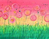 Abstract Flowers Painting - Pink, Yellow, & Green Whimsical Flowers Painting