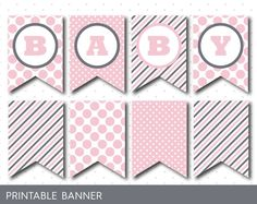 Full alphabet banner in pink and grey, Printable grey and pink banner, PB-21