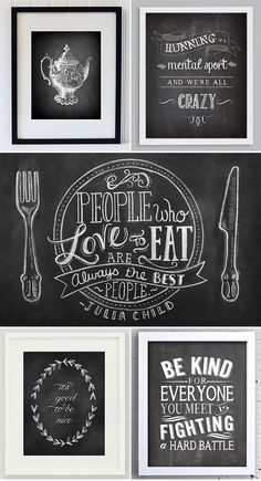 Loving: Chalkboard prints | Pretty Paper Things http://www.prettypaperthings.com/?p=2341