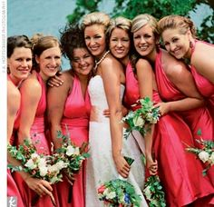 coral wedding. bride and bridesmaids