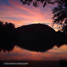Sunset over Stone Mountain Park in #Georgia.