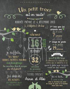 """Affiche personnalisée shower de bébé """"Vert et jaune"""" - 25$ #chalkboard #babyshower"""