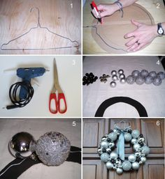 DIY garlands Christmas balls decorations silver and anthracite