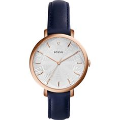 Fossil Incandesa Three-Hand Date Leather Watch Women's (3.935 CZK) ❤ liked on Polyvore featuring jewelry, watches, blue, fashion accessories, leather wrist watch, fossil jewelry, leather watches, blue watches and wide leather band watches