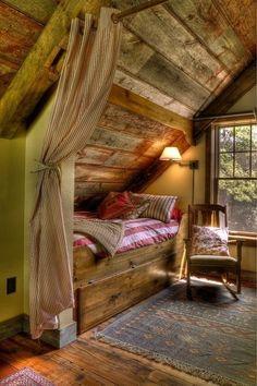 bluepueblo:Bedroom Alcove, Leech Lake, Minnesota photo via katie