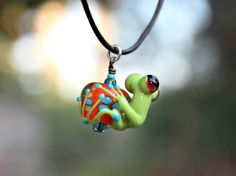 Reagan the Green Glass Frog Bead Pendant on Dark by blancheandguy, $36.00