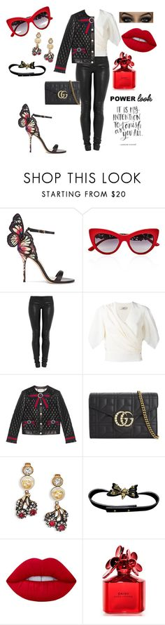 """""""Trending Shoes"""" by gigiglow ❤ liked on Polyvore featuring Sophia Webster, Dolce&Gabbana, Jay Ahr, Lanvin, Gucci, Lime Crime and Marc Jacobs"""