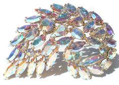 Aurora Borealis Rhinestone Spiral Leaf Brooch with by RibbonsEdge #GotVintage  #Vintage  #Jewelry