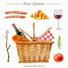 Basket with picnic elements in watercolor effect Vector Picnic Set, Family Picnic, Summer Picnic, Watercolor Food, Watercolor Effects, Watercolour, Wedding Borders, Basket Drawing, Summer Banner