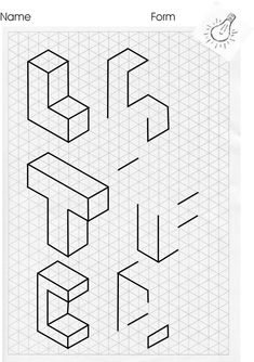 Resultado de imagen para isometric drawing exercises for kids Isometric Sketch, Isometric Grid, Isometric Design, Drawing Skills, Drawing Techniques, Drawing Tips, Drawing Ideas, Isometric Drawing Exercises, Orthographic Drawing