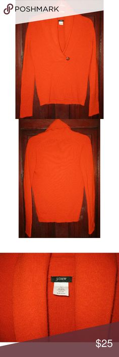"J. Crew XS Sweater Top Shawl Wool Cashmere Orange Really pretty pullover sweater top.  Soft and cozy.  Long sleeves either ribbed cuffs, ribbing around bottom.  Shawl collar that folds over with leather button at bottom.  Orange color great for Fall and Winter as well.  Very good pre-owned condition with gentle wear. 18"" doubled to 36"" bust with give in knit.    24 1/2"" long. 55% wool, 30% nylon, 15% cashmere J. Crew Sweaters"