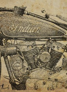 Indian Four Motorcycle Poster Quote Four wheels move by drawspots, $38.00