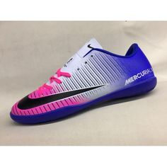new concept d10b5 2b263 Baratas Nike MercurialX Victory VI IC Azul Rosado Blanco Zapatos De Soccer