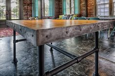 Handmade tables by Victory Lane Tables on Etsy - reclaimed wood form old bowling alley  Victory Lane Salvage Company in Savannah, GA has a large inventory of reclaimed bowling alley wood - look for us on Facebook or on the web @ VictoryLaneSalvage.com for more info!