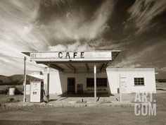 Gas Station and Cafe Photographic Print by Aaron Horowitz at Art.com