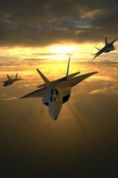 F-22 Raptors...ya gotta luv dat sunset ☻ Must be in Cali where my homies are designin' it!