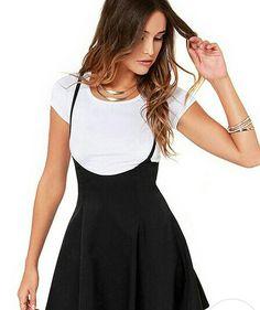Cheap New Women Fashion Black Skater Skirt with Shoulder Straps Pleated Hem  Braces Skirt Saia Femininos Braces skirt XXL