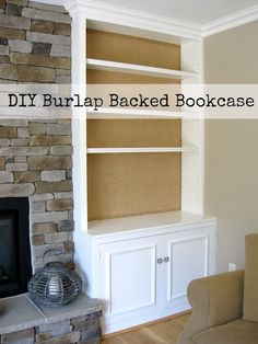 Decorating back panel of bookcase- here they used burlap and upholstery tacks! DIY Project: Burlap Backed Bookcases - Driven by Decor Family Room Fireplace, Fireplace Stone, Fireplace Bookcase, Fireplace Redo, Fireplace Cover, Fireplace Ideas, Driven By Decor, Diy Regal, Burlap Crafts