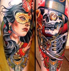 Undead Masquerade Tattoo by Sam Clark in Queensland, Australia