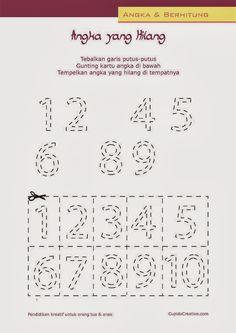 belajar anak anak balita/TK,, permainan gunting tempel, hitung angka 1-10
