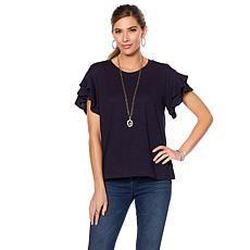 1c2d52198a5a9 DG2 by Diane Gilman Ruffle-Sleeve Slub Top Clothing Styles
