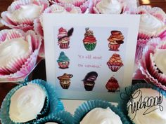 #art All About The #Cupcakes (greeting cards) by water colour artist and illustrator, TJ Lubrano, from the Netherlands.  She also does custom artwork.