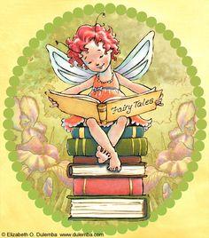 """bibliolectors: """"Las hadas leen en el bosque encantado (ilustración de Elizabeth O. Dulemba) """""""