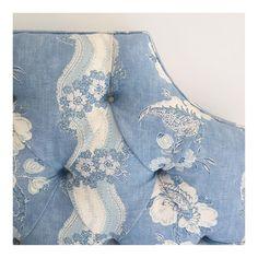 Blue & white Colefax & Fowler fabric on headboard - Sarah Bartholomew                                                                                                                                                     More