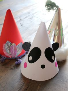 DIY party hats - put first letter of each child's name on the front, or make into animals
