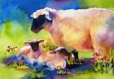 In Green Pastures - Sheep with Two Lambs bu Susan Crouch~~so cute! and lovely Art Watercolor, Watercolor Animals, Watercolor Landscape, Sheep Paintings, Animal Paintings, Josi, Sheep Art, Farm Animals, Painting Inspiration