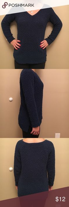 Soft and warm sweater! Fuzzy navy blue sweater. Worn only a few times. Sonoma Sweaters V-Necks