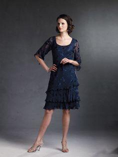 Capri by Mon Cheri  |  Blue DressesBurnout DressesDressesKnee LengthThree-quarter Sleeves  |  CP2902-2