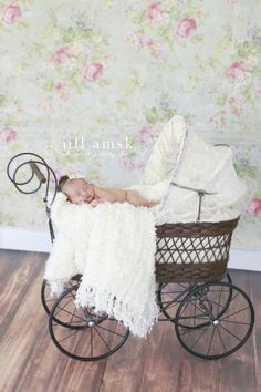Newborn baby girl |vintage carriage