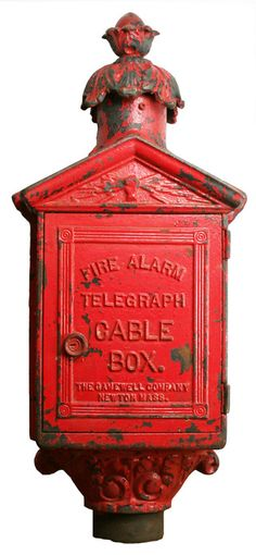 Fire Alarm Cable Box    This turn of the century cast iron cable box was used to send for help via telegraph. Cast in Newton, MA. by the Gamewell Co.