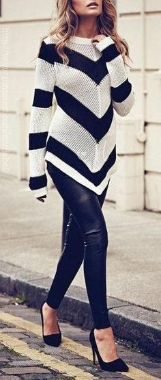 I love the chunky sweater + leather leggings look but I know I'll never be able to pull it off. le sigh!