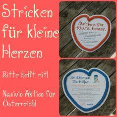 """Stricken / Häkeln für kleine Herzen! Macht mit und häkelt oder strickt kleine Schals für die Nasivin Sanft Verpackung und unterstützt damit den Verein """"kleine herzen""""!!! #häklen #stricken #kleineherzen #gemeinnützig #österreich"""