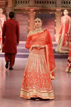 Heavily embroidered red gota patti and zardosi raw silk lehenga and choli - Anita Dongre - Make in India 2016