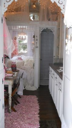 Shabby Chic Tiny Retreat (not my place but I HAVE THAT SAME RUG IN MY LIVING ROOM NOW....Amy from FourSistersInACottage)