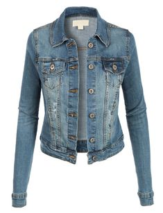 LE3NO Womens Vintage Long Sleeve Denim Jean Jacket with Pockets