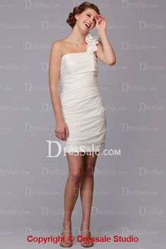 2013 Newly Arrived Chic One-Shoulder Short/Mini Length Wedding Dress with Ruffles Decoration