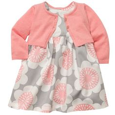 Carters 3-Piece Cardigan Dress Set