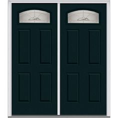 Milliken Millwork 66 in. x 81.75 in. Master Nouveau Decorative Glass Segmented 1/4 Lite Painted Majestic Steel Exterior Double Door, Dark Night