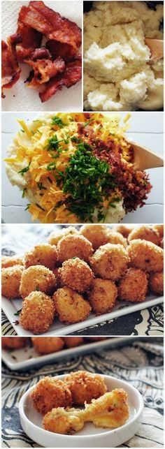 Loaded Cheesy Mashed Potato Balls but try using the Velata bacon cheddar cheese and smoked paprika rub. Potato Recipes, New Recipes, Cooking Recipes, Favorite Recipes, Potato Balls Recipe, Air Fryer Recipes Potatoes, Bacon Recipes, Recipies, Think Food