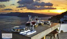 As the sun is setting, the colors in the sky are purely breathtaking…and there is nothing better than dining surrounded by this spectacular scenery! Santorini Luxury Hotels, Oia Santorini, Santorini Holidays, Scenery, Sky, Dining, Amazing, Colors, Heaven