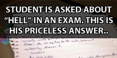 """Student Is Asked About """"Hell"""" On An Exam. You've Gotta Read His Answer."""