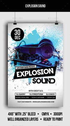 Explosion Sound Flyer Template PSD #design Download: http://graphicriver.net/item/explosion-sound-flyer/13563420?ref=ksioks
