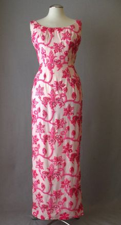 Vintage 60s Evening Gown Dress Pink Beaded Silk Small bust 36 | Couture Allure Vintage Fashion
